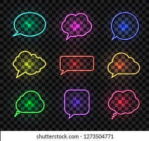 Vector Neon Talk Bubbles Vollection, Different Colors Bright Speech Boxes, Design Elements Collection Isolated on Dark Transparent Background.