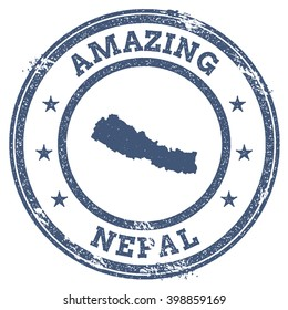 Vector Nepal travel stamp. Vintage amazing Nepal travel stamp with map outline. Nepal travel round grunge sticker with country map.