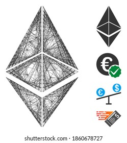 Vector net Ethereum. Geometric wire frame flat net based on Ethereum icon, designed with crossed lines. Some bonus icons are added.