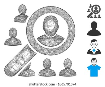 Vector net find user. Geometric wire frame 2D net made from find user icon, designed from crossed lines. Some bonus icons are added.