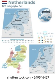 Vector Netherlands political and administrative divisions maps, Netherlands flag, Earth globe showing country location, map markers and related icon set
