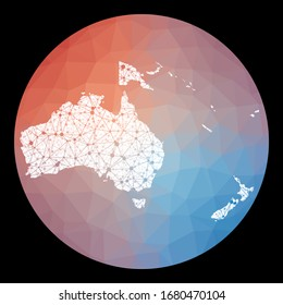 Vector network Oceania map. Map of the continent with low poly background. Rounded Oceania illustration in technology, internet, network, telecommunication concept style.
