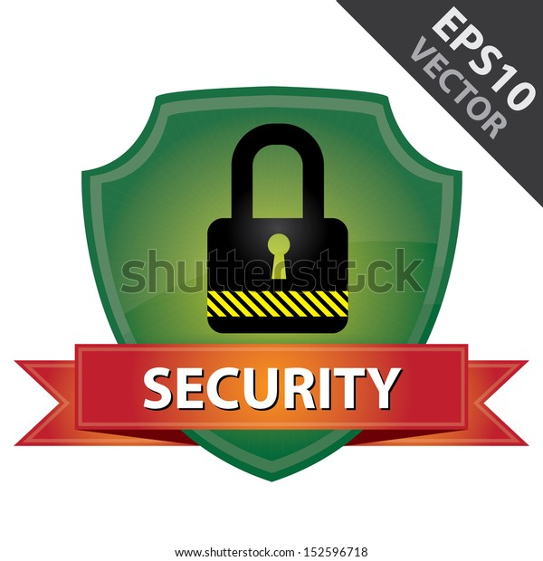 Vector : Network Security, Privacy or Top Secret Concept Present By Green Glossy Style  Lock Shield Icon With Red Security Ribbon Isolated on White Background
