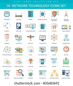 Vector Network technology color flat icon set. Elegant style network icons design