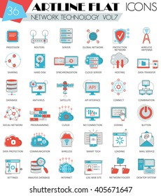 Vector Network technology ultra modern outline flat line icons for web and apps.
