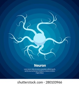 Vector neuron icon On blue background with circles.