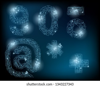Vector Neuron Network Alphabeth. Neuron Letters and Numbers. Glowing Alphabeth