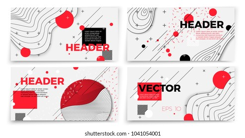 Vector new memphis style banner templates, white modern background with geometric shapes and place for your text.