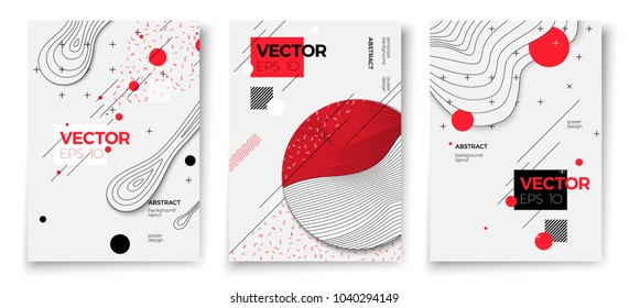Vector new memphis style poster templates, white modern background with geometric shapes and place for your text.