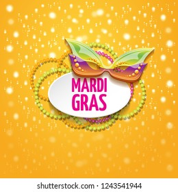 vector new orleans mardi gras vector orange background with blur lights, carnival mask and text. vector mardi gras party or fat tuesday purple poster design template with space for text