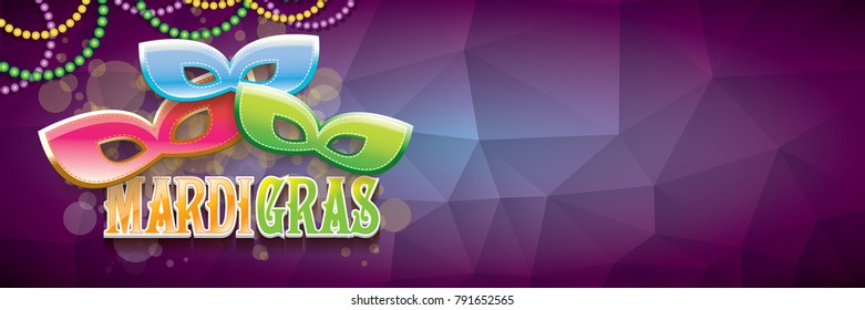 vector new orleans mardi gras vector violet horizontal banner background with blur lights, carnival mask and text. vector mardi gras party or fat tuesday purple poster design template
