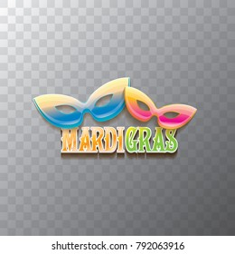 vector new orleans mardi gras carnival  label with mask and text on transparent background. vector mardi gras party or fat tuesday poster design template with space for text