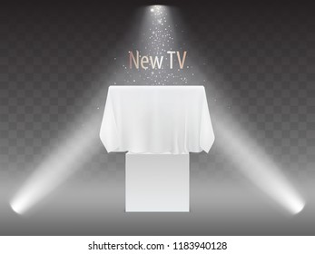 Vector new TV concept, exhibition with screen in lights of projectors. Mock up of plasma television, modern video system on transparent background. HDTV digital technology under white fabric, textile