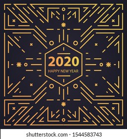 Vector New Year 2020 geometric card, banner, artdeco background. Greeting