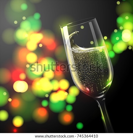 vector new year banner template with place for your text transparent champagne glass on bright