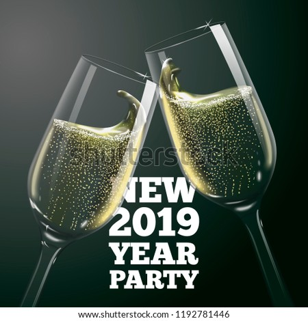 vector new year banner with transparent champagne glasses on dark background with blurred xmas tree