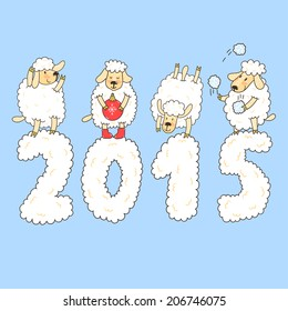 "Vector new year card with cute four sheep and number ""2015""."