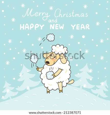 vector new year card with cute sheep snowflakes and text merry christmas and happy
