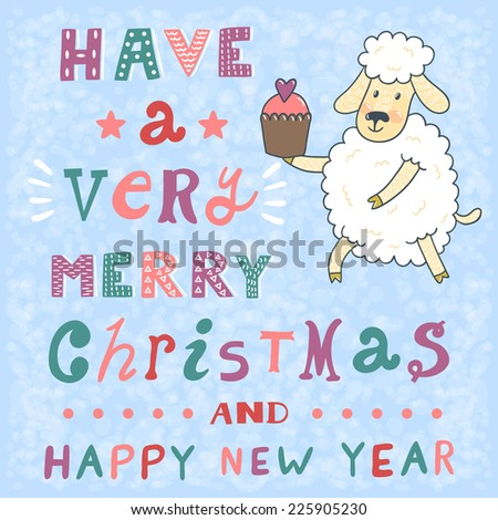 vector new year card with cute sheep and text have a very merry christmas