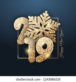 "Vector New Year card - ""Happy New Year 2019"". New Year shiny background with gold snowflake"