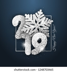 "Vector ""New Year card"" - Happy New Year 2019. New Year shiny background with silver snowflake"