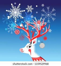 Vector New Year card with a merry portrait of a deer with balls