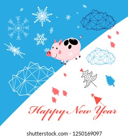 Vector New Year greeting card with piglet on blue background with snowflakes