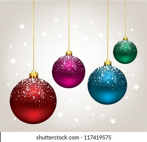 vector new year holiday illustration of hanging christmas balls. xmas background