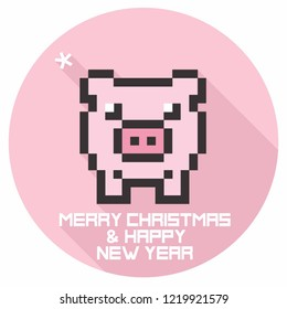 Vector New Year icon pixel pig. Illustration in flat style. Text: Merry Christmas and Happy New Year.