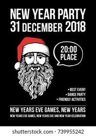 Vector new year party poster with Santa and bubble. Holiday background and design banner, invitation. Vector template with hand-drawn xmas graphic.