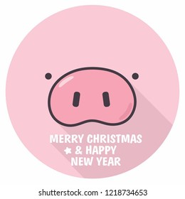 Vector New Year Pink Pig face icon. Illustration of a pig in flat style. Text: Merry Christmas and Happy New Year.