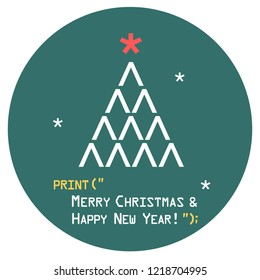 Vector New Year sign tree icon with star. Christmas tree consists of signs and symbols. Illustration in flat style. Text: Merry Christmas and Happy New Year.