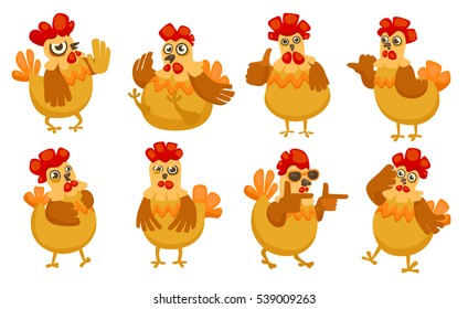 Vector New Year symbol design isolated. Rooster, cock portrait cartoon illustration. Merry Christmas, happy New Year, xmas holiday memory card design element. Chinese year symbol. Cartoon style.