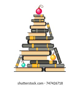 Vector new year tree of black-and-white books and christmas balls. Cartoon x-mas illustration. Cute pile of books. Home library. Happy education.