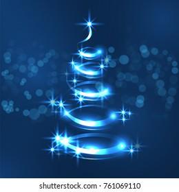 Vector new year tree . Christmas tree -  stock illustration. Luminous Christmas tree. Shiny Christmas tree.