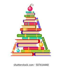 Vector new year tree from colorful books and christmas balls. Cartoon x-mas illustration. Cute bright pile of books. Home library. Happy education.