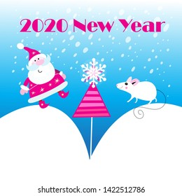 Vector New Year's holiday card with a white mouse and Santa Claus on a blue background