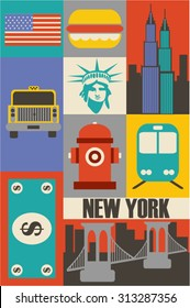 Vector New York background flat