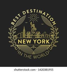 Vector New York City Badge, Linear Style