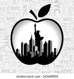Vector. New York City silhouette. Big Apple as symbol of New York.