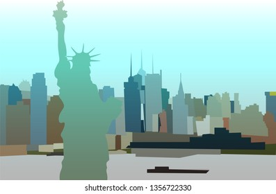 Vector New York with statue of liberty
