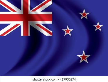 Vector New Zealand flag blowing in the wind