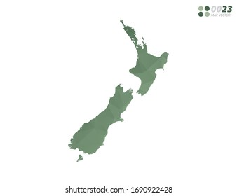 Vector of New Zealand map green polygon triangle mosaic with white background. style gradient.