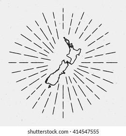 Vector New Zealand Map Outline with Retro Sunburst Border. Hand Drawn Hipster Decoration Element. Black Radiant Light Rays on White Background.
