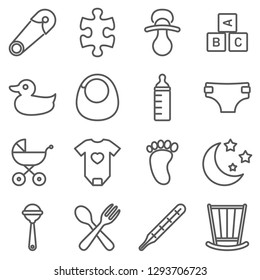 Vector newborn icon set on white background