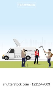 vector news anchor teamwork on city background