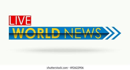 Vector of news banner or strip, news symbol or icon, live news inscription