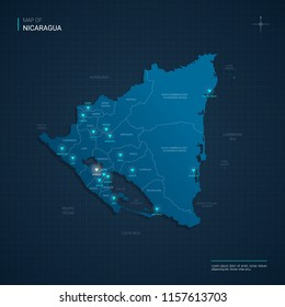 Vector Nicaragua map illustration with blue neon lightpoints - triangle on dark blue gradient background. Administrative divisions, cities, borders, capital. Neon tech background with glow.
