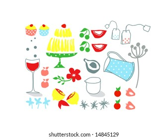 vector - nice background with design element theme restaurant romance food