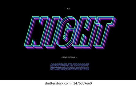 Vector night 3d line font neon style modern typography. Cool typeface for disco party poster, t shirt, decoration, logotype, book, card, sale banner, printing, industrial. Trendy alphabet. 10 eps